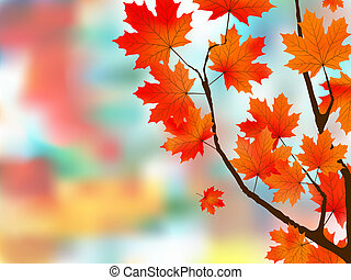 Autumn leaves, very shallow focus. EPS 8 vector file...