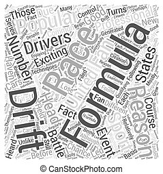 The Popularity of Formula D Racing Word Cloud Concept