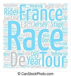 The Tour de France Explained text background word cloud...