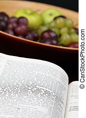 Fruit of the Spirit - Holy Bible open to Galatians 5 Focus...