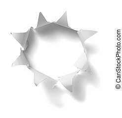 hole in white paper background