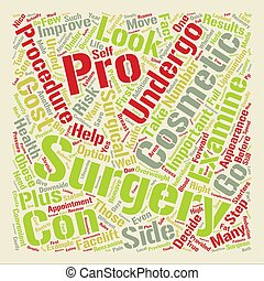 The Pros and Cons of Cosmetic Surgery text background word...