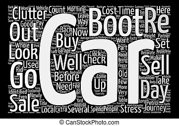 The Stress of Car Boot Sales text background word cloud concept