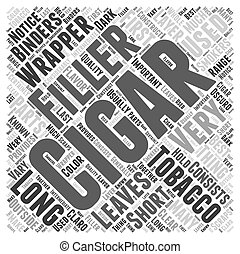 The Parts of a Cigar Word Cloud Concept