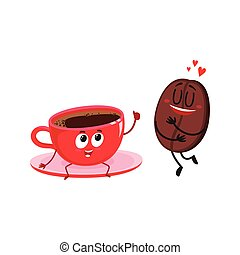 Coffee bean and espresso cup characters, love for coffee concept