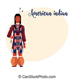 Native American Indian man in traditional national clothes, tribal shirt