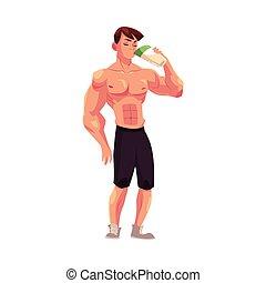 Man bodybuilder, weightlifter drinking protein shake after...