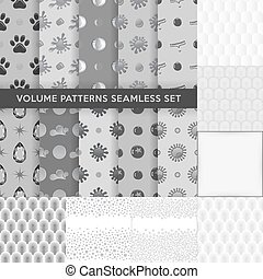 Seamless pattern set - Grey seamless blobs, drops pattern...