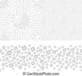 Grey white seamless background set, vector illustration