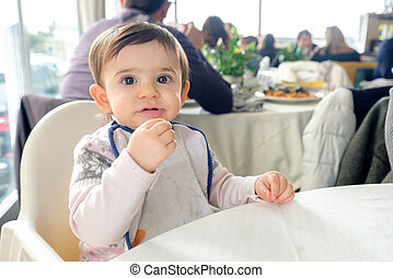 newborn restaurant baby bib high chair table eating chew...