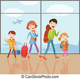 Family goes on a trip - Cartoon vector family goes on a...