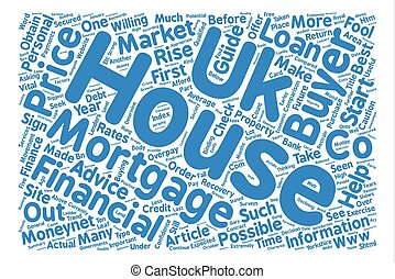 The UK house market and how to survive it text background word cloud concept