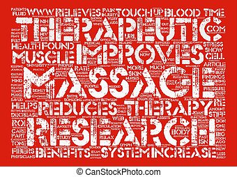 Therapeutic Massage Research Findings text background word...