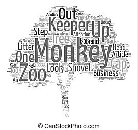 The Zoo Keeper And The Monkeys text background word cloud...