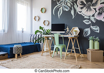 Studio with a floral motif - Modern studio apartment with...