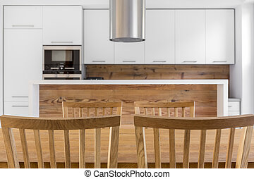 Wood kitchen with table