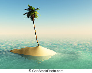 island - small island with a palm tree