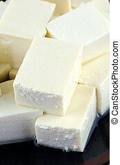 Tofu close up - Close up of tofu cube