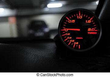 Turbo gauge - Close up of an automobile turbo gauge