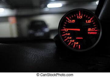 Turbo gauge - Close up of an automobile turbo gauge