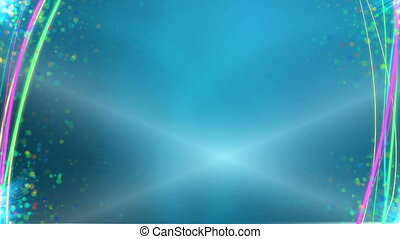 """""""Animated colorful lines and parts"""" - """"Blue background with..."""