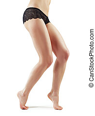 Pretty woman legs isolated on white background