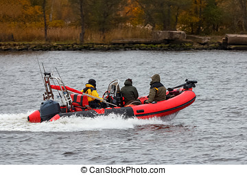 Red inflatable boat