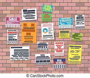 Various tear off papers ad on brick wall