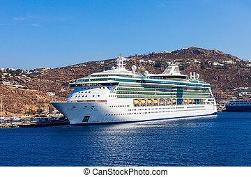 Cruise ship, Mykonos island - Cruise ship near the Mykonos...