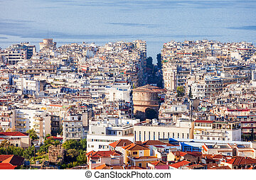Thessaloniki aerial panoramic view. Thessaloniki is the...