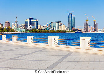 Baku boulevard, Caspian sea - Baku boulevard at the Caspian...