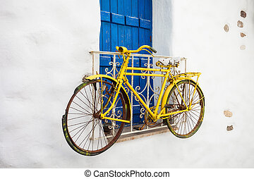 Naxos old town, Greece - Old bike in Naxos Kastro old town,...
