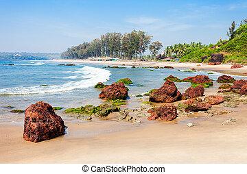 Beach in Goa, India - Keri or Kerim or Querim beach in north...