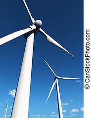 clean energy - wind turbines over yhe sky