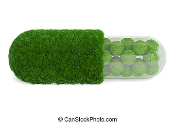 Grass pill capsule, 3D rendering isolated on white...