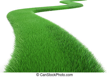 Green Grass Way, 3D rendering isolated on white background