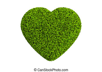 Heart from grass, 3D rendering isolated on white background