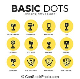 Award flat icons vector set - Award flat icons set with...
