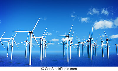 windmills - turbines on the sea
