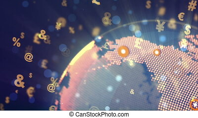 """Abstract World Globe Rotation with currency signs"""