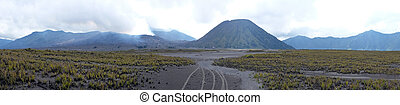 Panorama from the vulcanic area at the Bromo vulcano on Java...