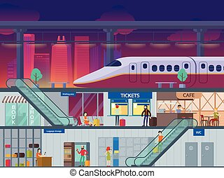 Flat Train Station Night Time Concept - Flat train station...