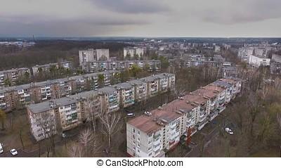 aerial socialist soviet panel buildings at winter - aerial...