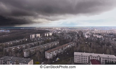 aerial socialist soviet panel buildings at winter - aerial...