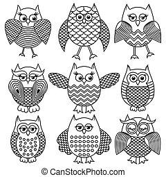 Nine cartoon funny owl outlines - Set of nine cartoon ornate...