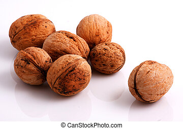 Walnuts - Fresh walnuts on white background
