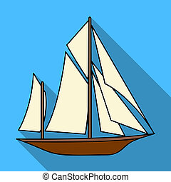 Vintage boat explorers.Sailboat on which ancient people...