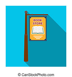 Bookstore signage icon in flat style isolated on white background. Library and bookstore symbol stock bitmap illustration.