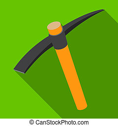 A wooden pickaxe with an iron tip.The tool that miners...