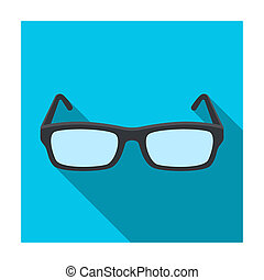 Glasses icon in flat style isolated on white background....